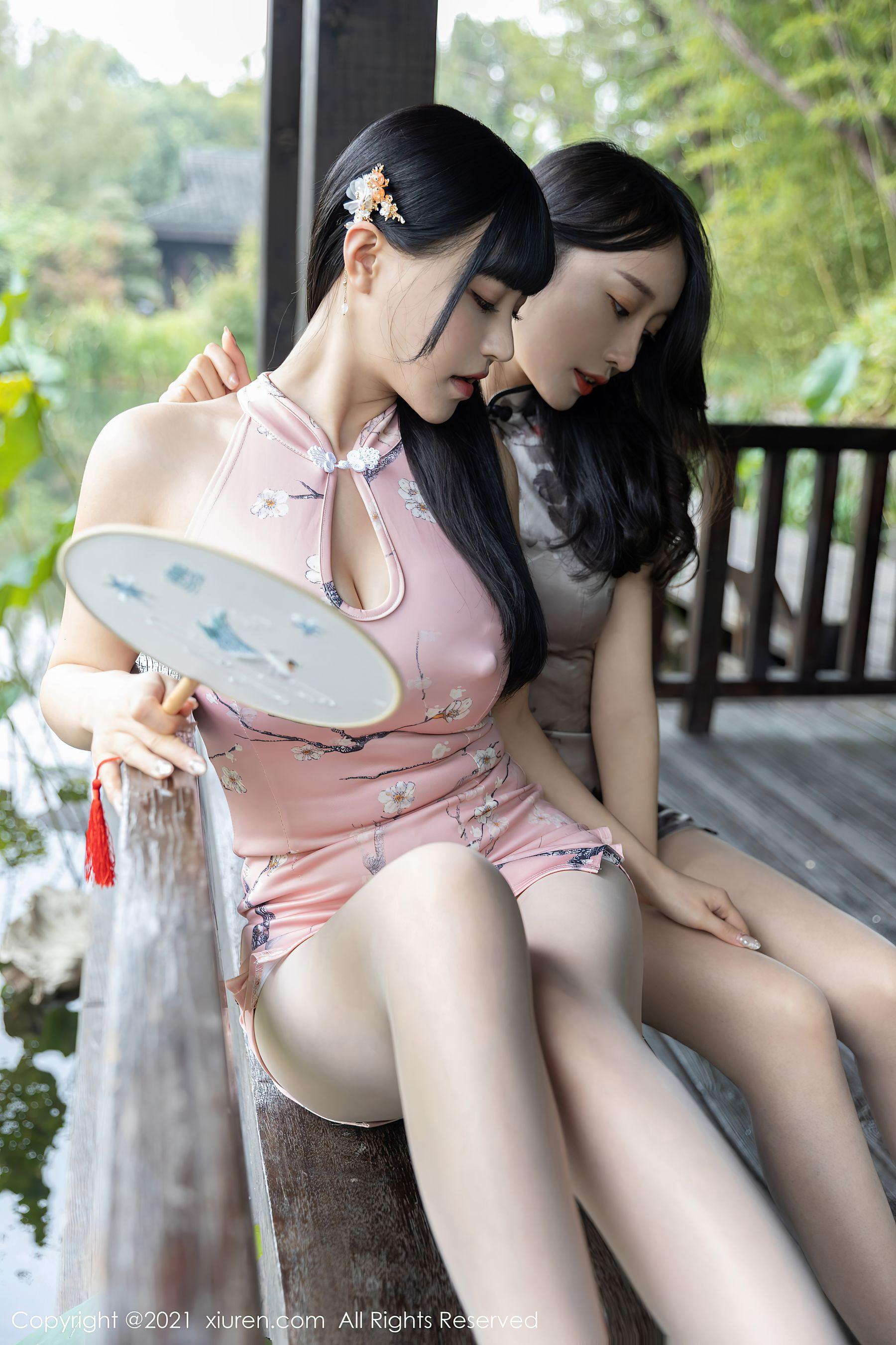 VOL.1001 [秀人网]美腿旗袍姐妹花:朱可儿超高清写真套图(63P)